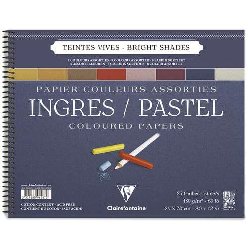 Clairefontaine Ingres-Pastellblock, Doppelspirale 8-farbig