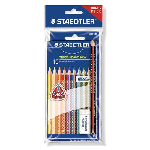STAEDTLER® TRICKI Dicki® Farbstifte Sonderedition mit Radierer und Schreiblernstift