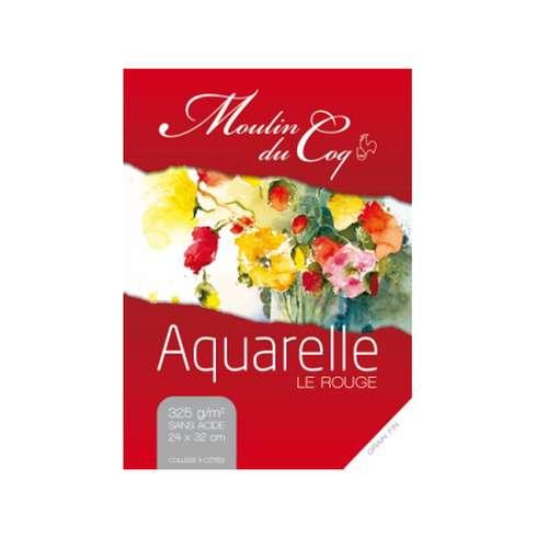 Moulin du Coq Aquarellpapier Le Rouge Block Feinkorn