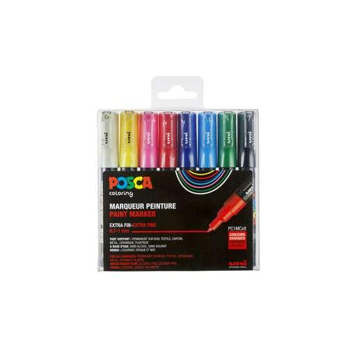 UNI POSCA Marker-Set PC-1MC, Pigment-Marker 8 Farben
