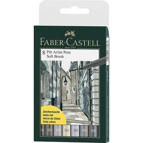 FABER-CASTELL Tuschestift PITT artist pen Soft Brush 8er Set