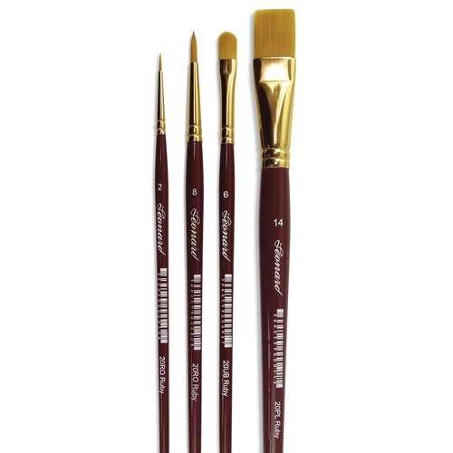 Léonard Synthetikpinsel-Set Serie 20, 4er-Set Acrylpinsel