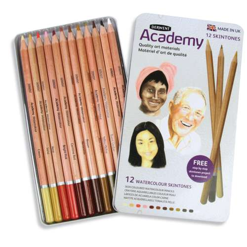 DERWENT Academy Aquarellstifte, Hautfarben Set