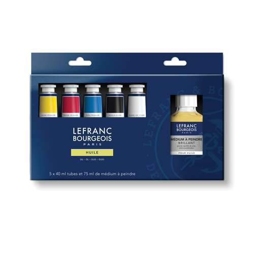 LEFRANC & BOURGEOIS feine Ölfarbe, Primärfaben Set + Malmedium