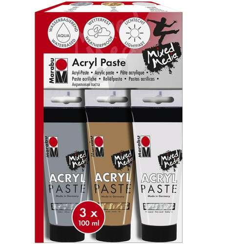 Marabu Acryl Paste, 3er Sortierung
