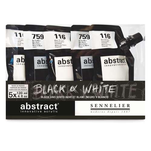 "SENNELIER abstract® ""Black & White""-Set, 5 x 120 ml"