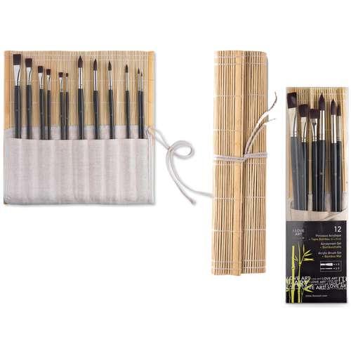 I LOVE ART Acrylpinsel-Set in Bambus-Rolltasche