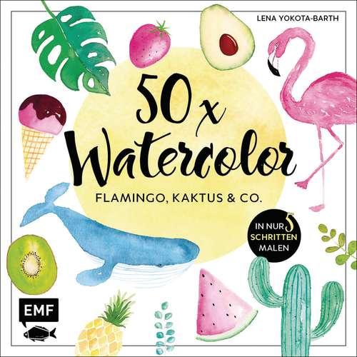 50 x Watercolor: Flamingo, Kaktus & Co.